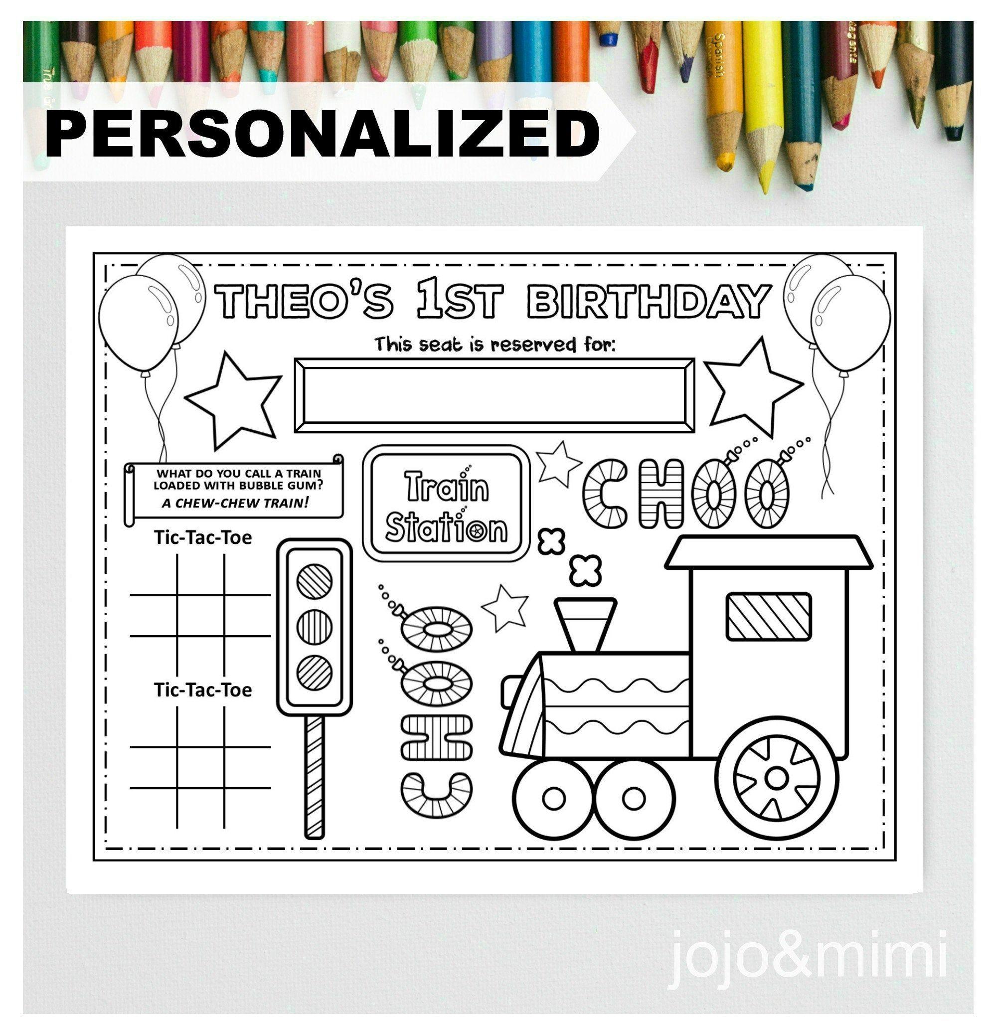 Personalized Train Happy Birthday Printable Placemat Activity Etsy Happy Birthday Printable Birthday Printables Train Coloring Pages