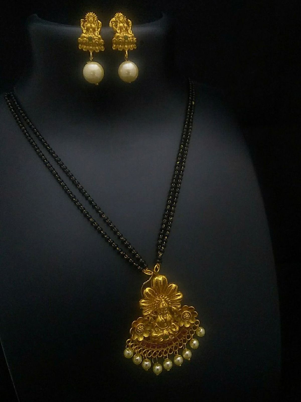 Creative black and golden wedding wear traditional mangalsutra ...