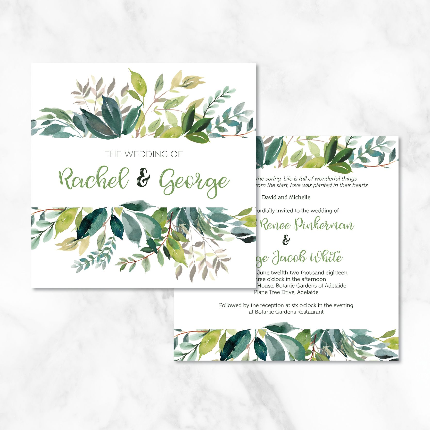 Watercolour Leaves Wedding Invitation These Beautiful Watercolour Wedding Invitations Featur Wedding Invitations Watercolor Wedding Invitations Wedding Cards