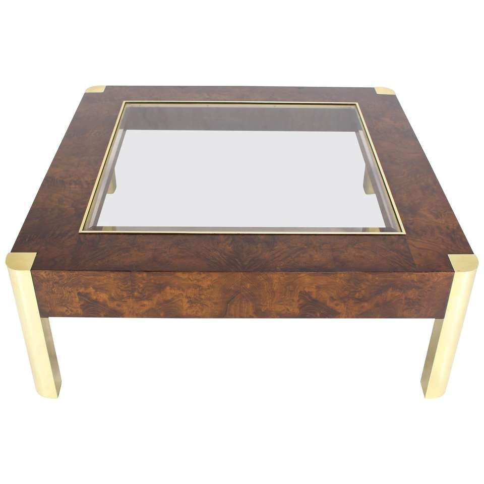 Burl Wood Brass Glass Top Square Coffee Table Coffee Table