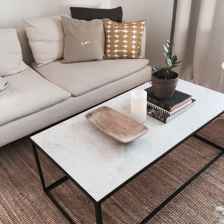 Coffee table marble vintage yellow pillow spira soderhamn sofa
