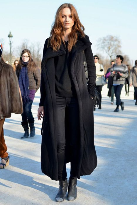 Long winter coat, black on black. #streetstyle | For Her : Jacket ...