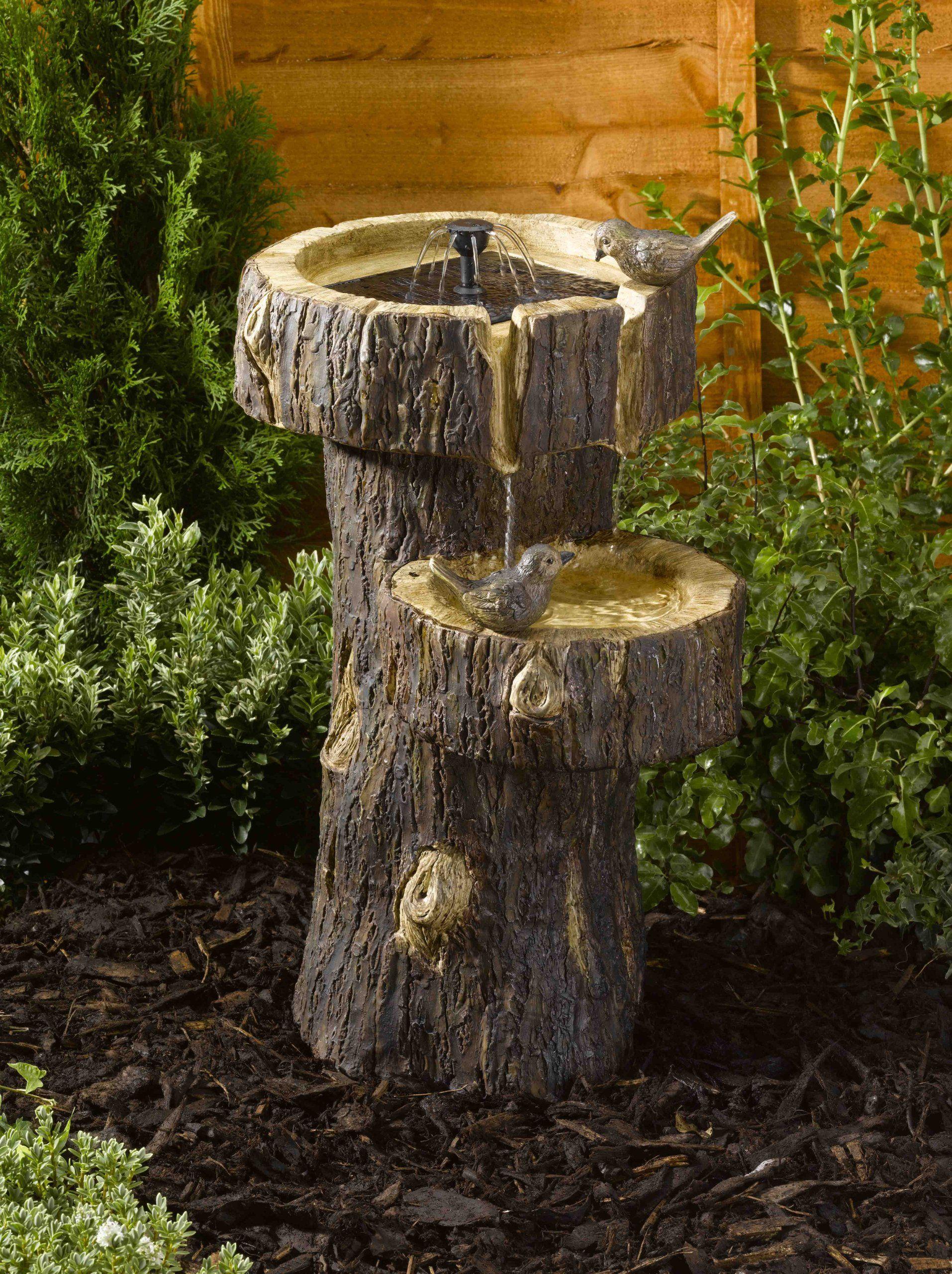 Smart Solar Bark Tree Trunk Birdbath Water Feature 60 3cm