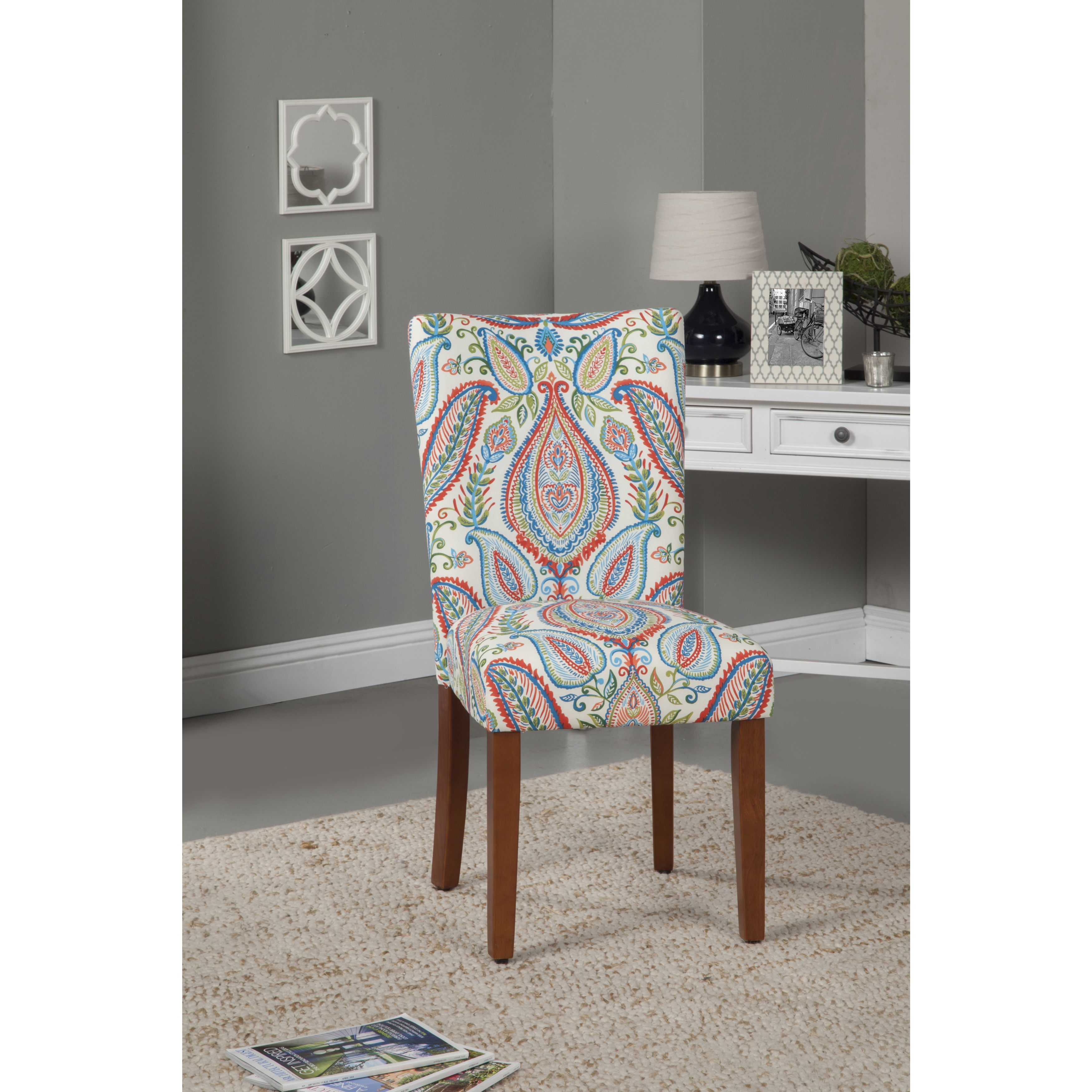 HomePop Coral And Turquoise Paisley Parson Chair (Set Of 2)
