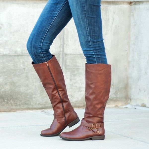 2cf0988fe33 Journee Collection Women's 'April' Regular and Wide-calf Buckle Knee-high  Riding Boot - 16540000 - Overstock.com Shopping - Great Deals on Journee ...