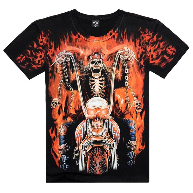 2016 새로운 남성 짧은 소매 3D t 셔츠 남자 O 넥 t 두개골 할리 인쇄 고스트 라이더 유럽 크기 여름 티, JA141