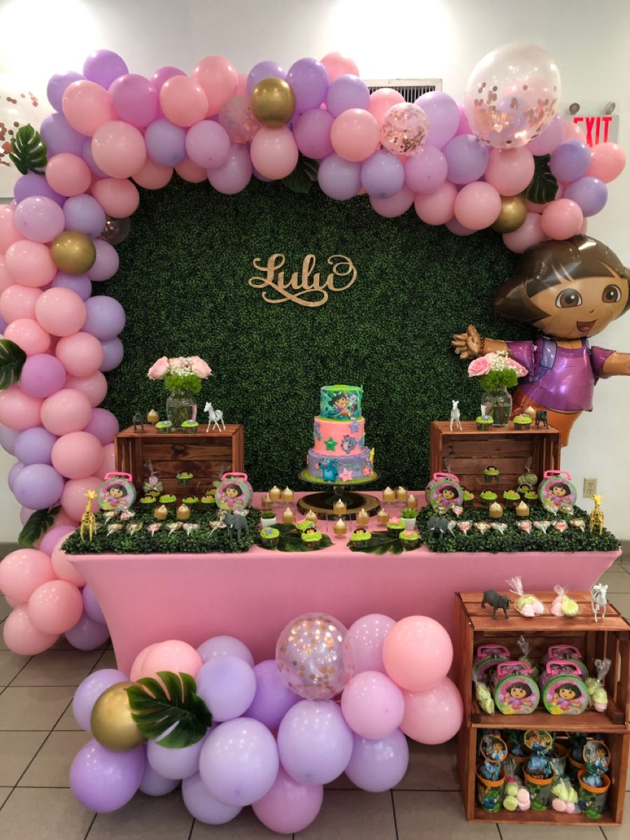 Pin By Patricia Milian On Dora Explorer Party Birthday Surprise Party Explorer Birthday Party 1st Birthday Party For Girls