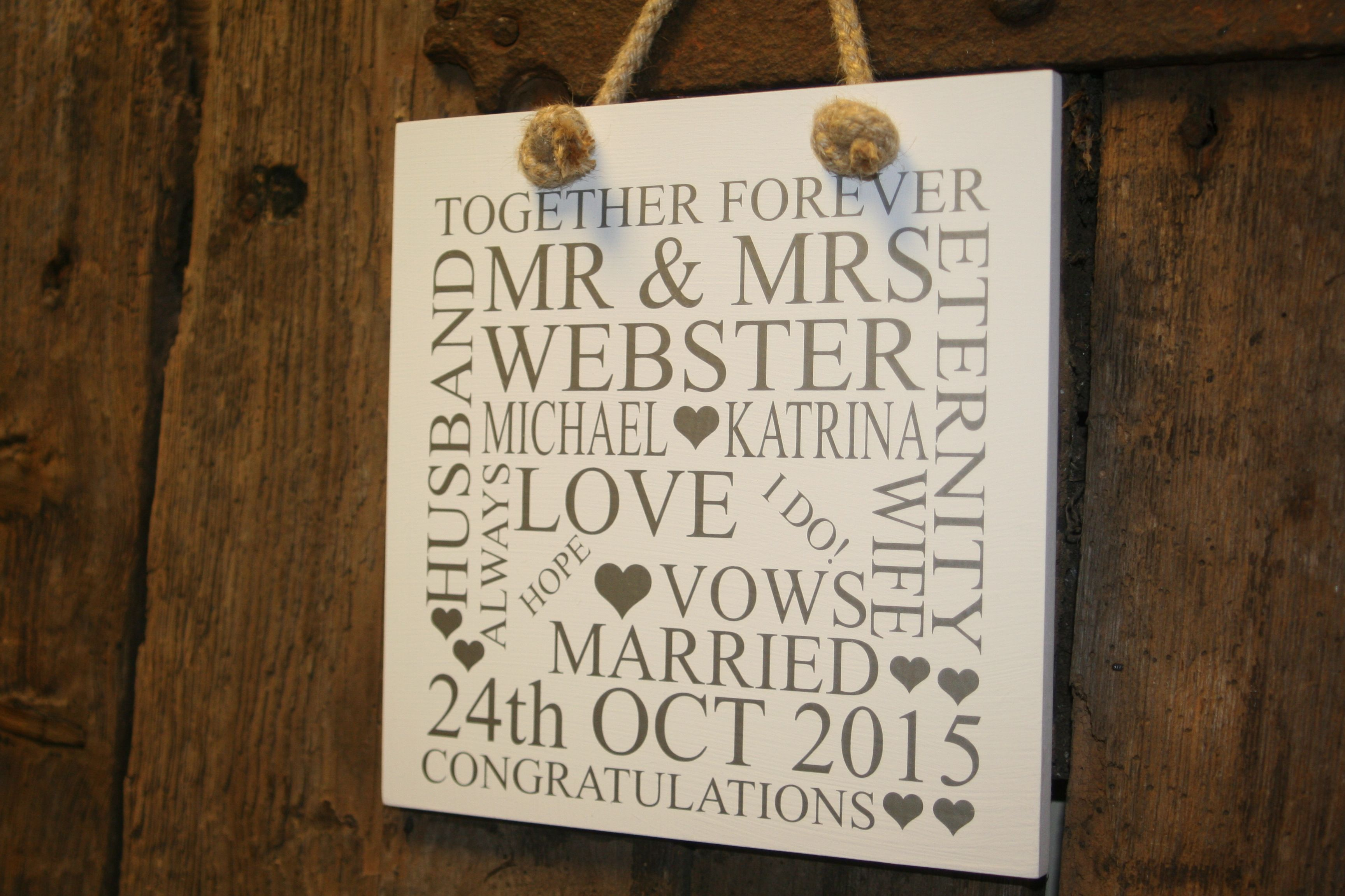Beautiful Personalised Wedding Plaque For The New Mr Mrs Makes A Gorgeous Gift