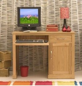 mobel oak single pedestal computer desk is an innovative work station featuring a pull out