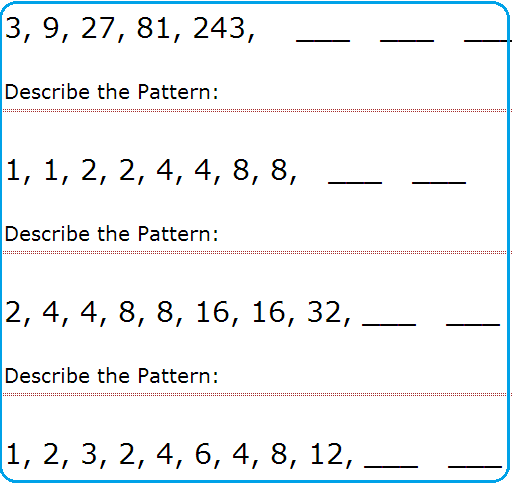 Finding Patterns In Math Worksheets pattern worksheets – Pattern Math Worksheets