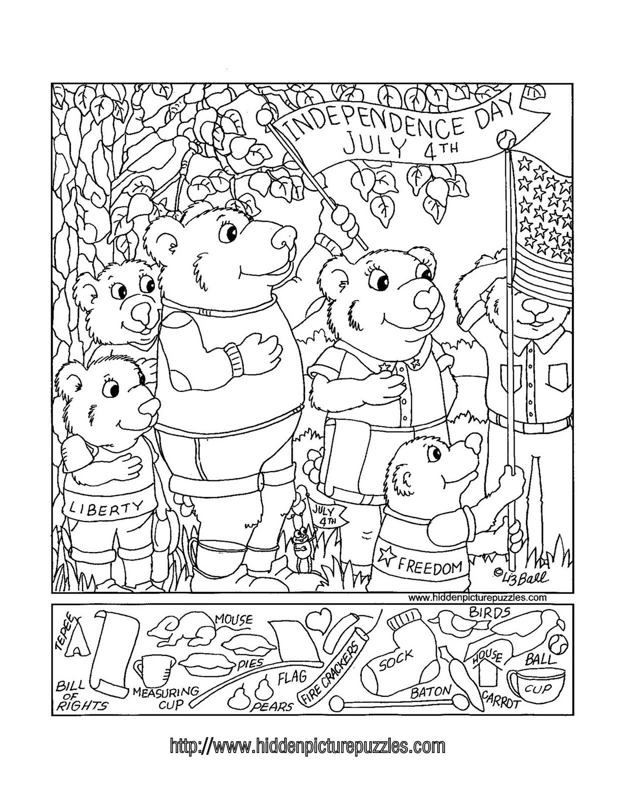 Coloring pages for dots for 4 of july - Hidden Pictures Publishing July 4 Hidden Picture Puzzle By Liz Ball
