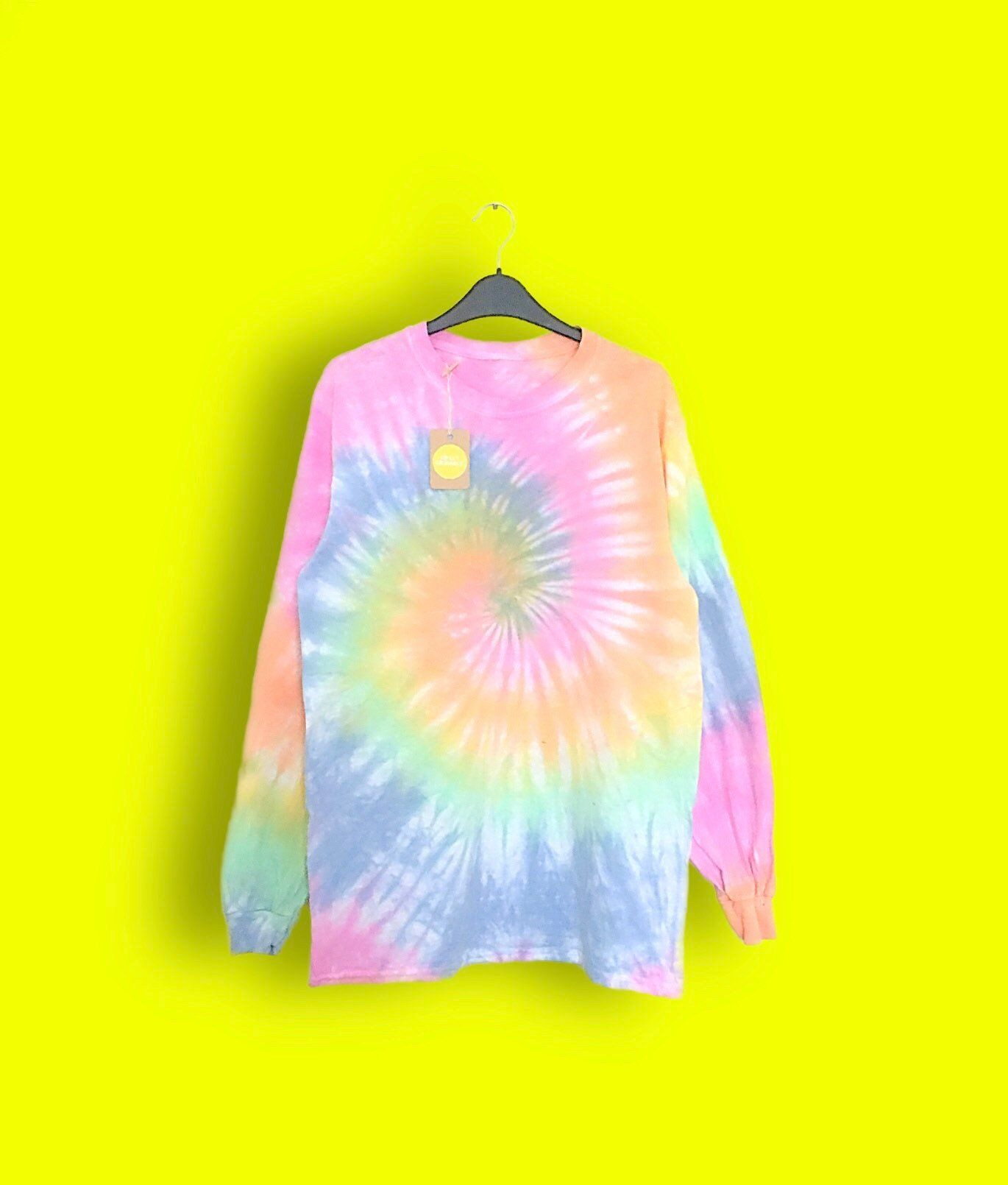 ba5b00e249391 Long sleeve pastel tie dye | Unisex, Plain tie dye, pastel, spiral ...