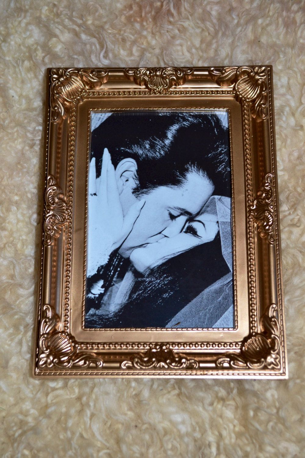 Elvis Presley black & white print in a gold vintage style frame by Honeychile74 on Etsy