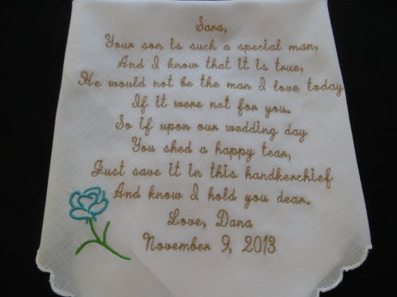 Wedding Handkerchiefs For The Family: Mother Of The Groom Handkerchief-Hankerchief-Wedding