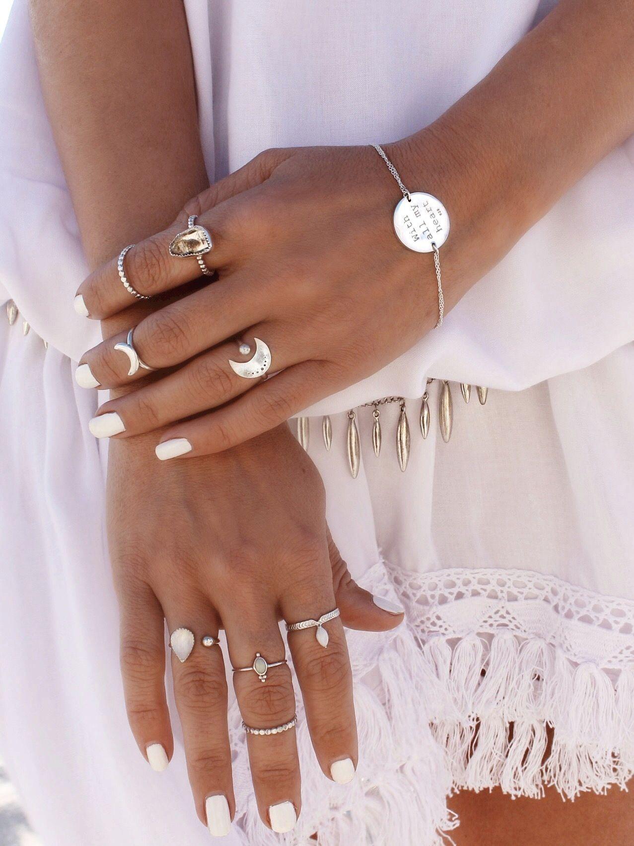 Boho silver jewelry rings midi stackable thin tiny anéis