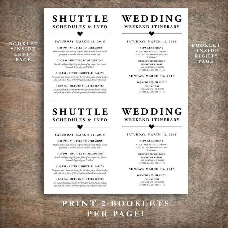 Printable Wedding Welcome Bag Booklet Note Itinerary Wedding Welcome