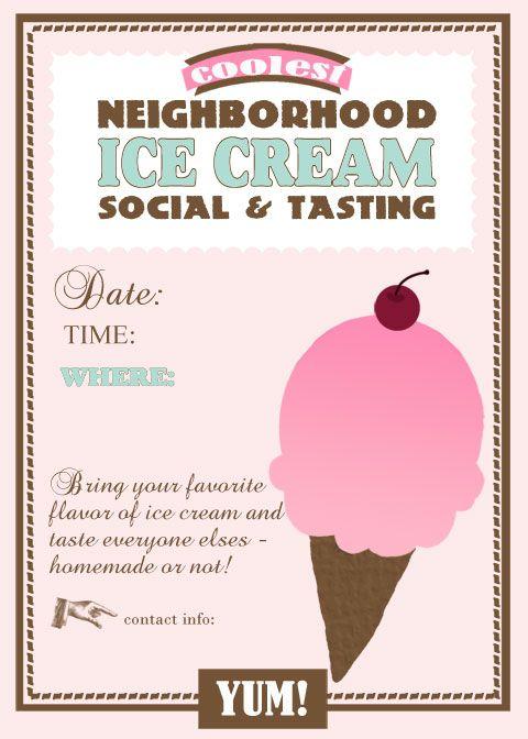 Ice Cream Social Template Pinteres