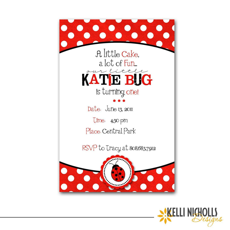 Custom Ladybug Girl\'s Birthday Party Invitation, Children\'s 1st ...