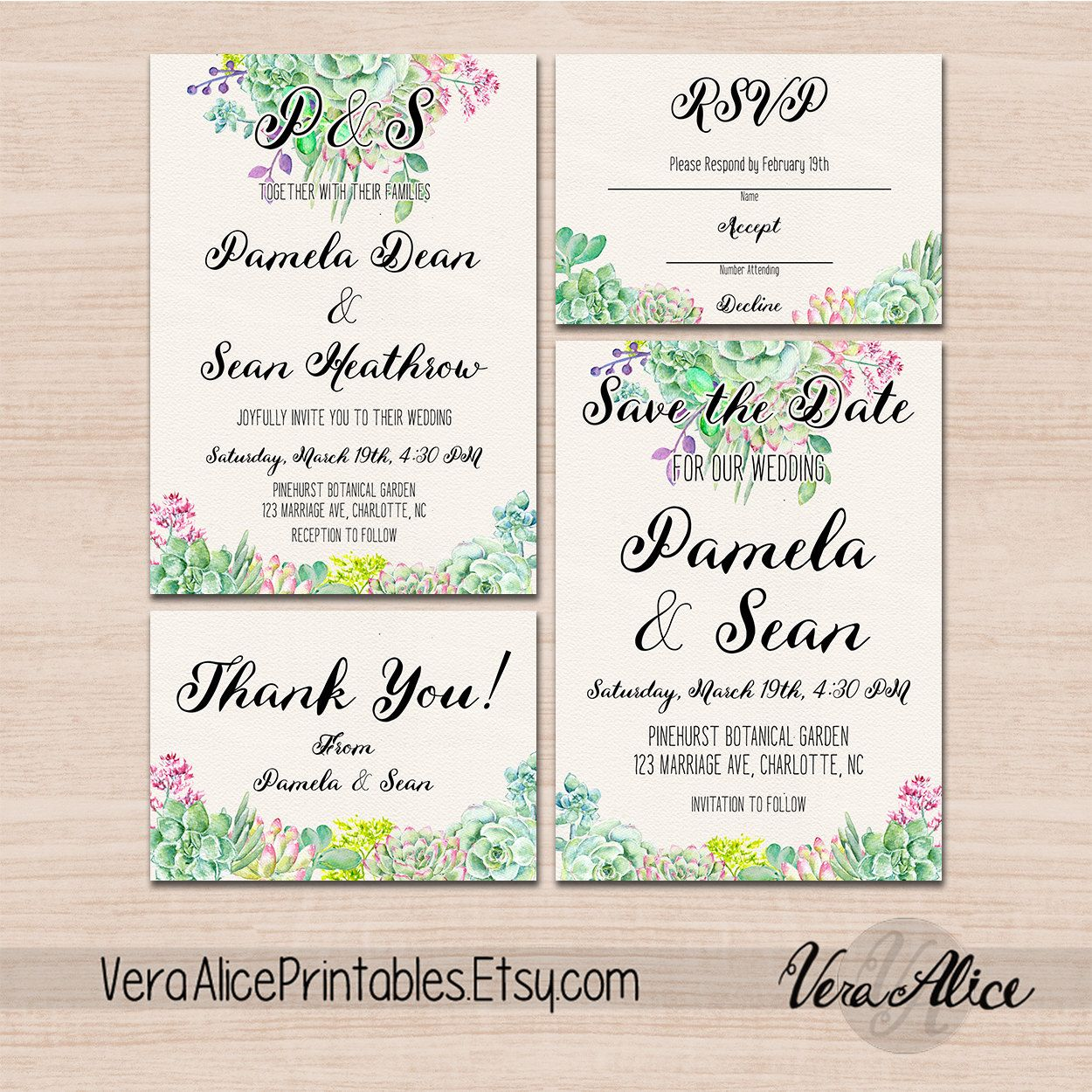 Cactus wreath Succulent Wedding Invitation kit rustic Pink and ...