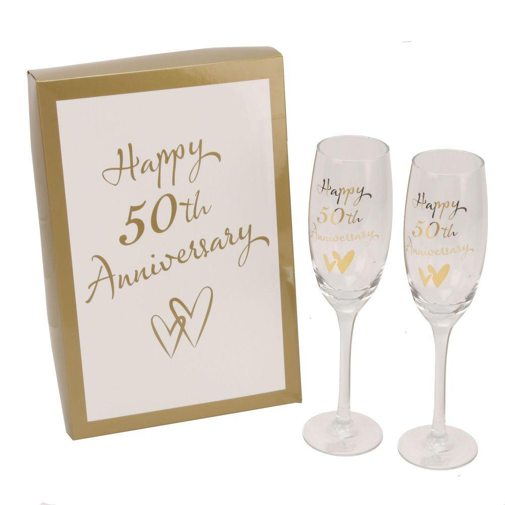Juliana 50th Golden Wedding Anniversary Champagne Glasses Gift ...