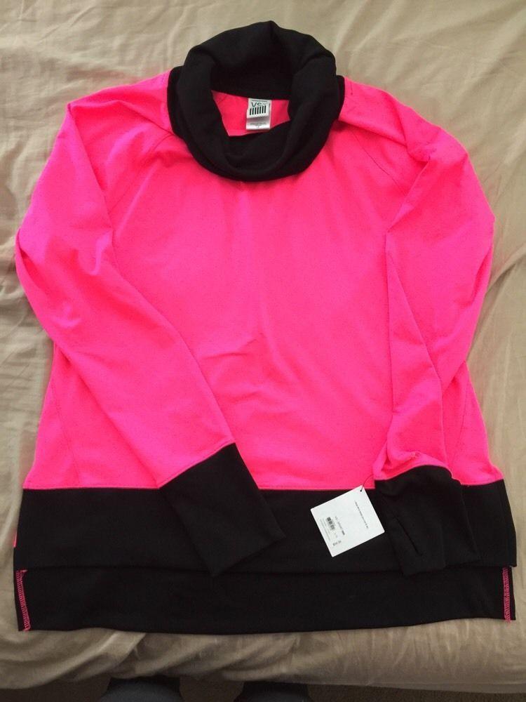 NWT Victoria's Secret VSX Sport Pullover Cowl Neck Sweater Black ...