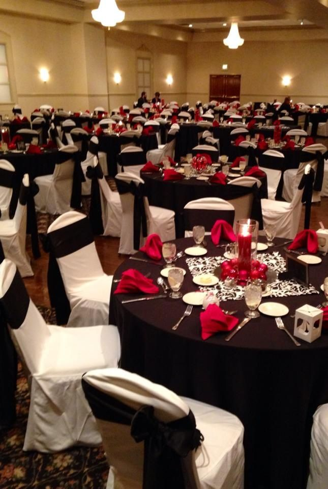 Black white & red table settings for reception | My ...