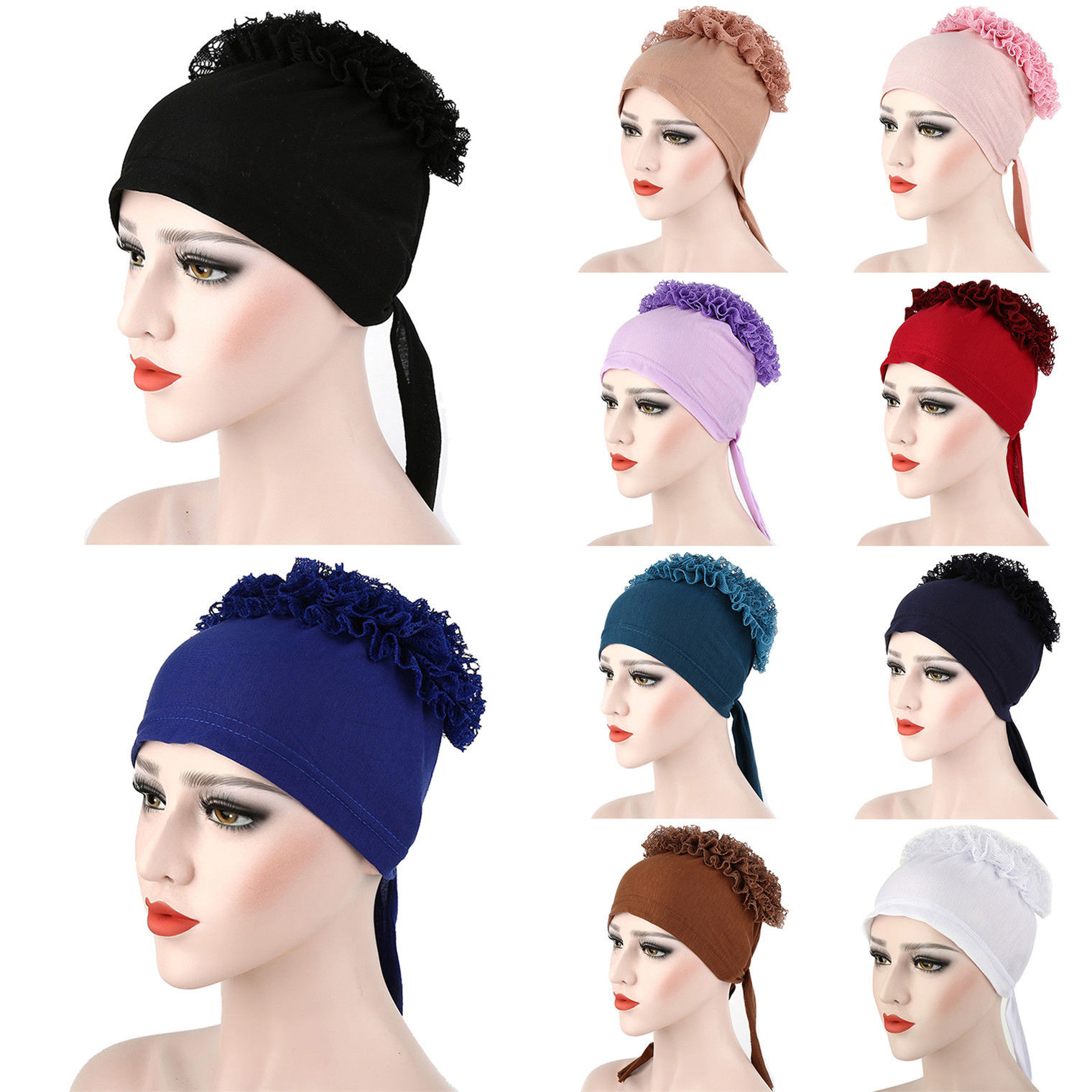 Stylish Under Scarf Plain LACE BONNET Tube Cap Turban Hat for Hijab Head Scarf