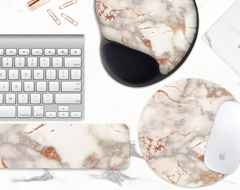 Faux Rose Gold Gray Marble Mouse Pad And Keyboard Wrist