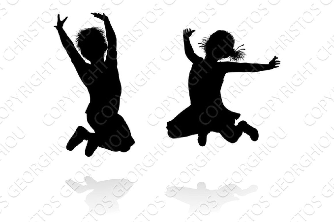 Happy Silhouette Kids Jumping kids children jumping girl ...