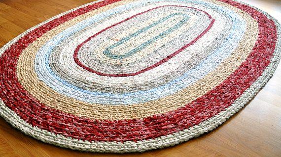 Made To Order Custom Colors 4 X6 Oval Rag Rug By Ekra On Etsy Crochet Rag Rug Fabric Rug Rag Rug