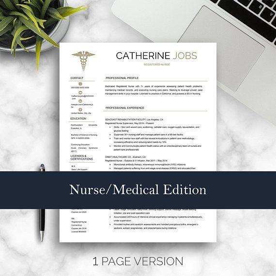 Nurse Resume Template for Word, Medical Resume, Nurse CV, Doctor
