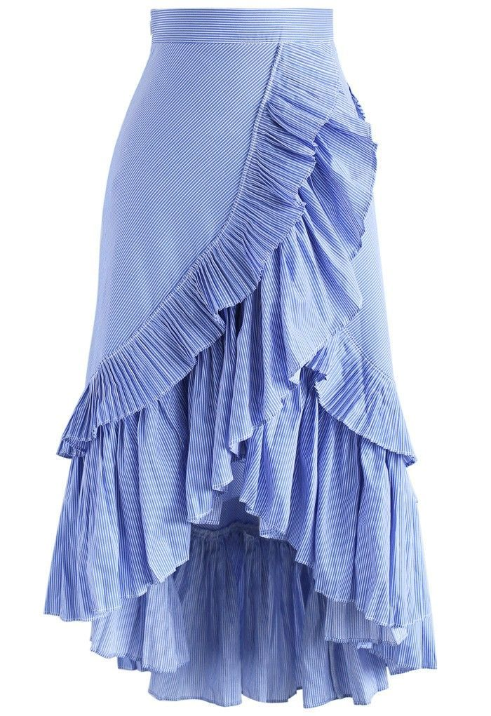 Applause from Ruffle Tiered Rüschensaum Rock in Blue Stripes blau S – Best Seller Skirts – #Applaus #Blau #Blue #Rock #Ruffle