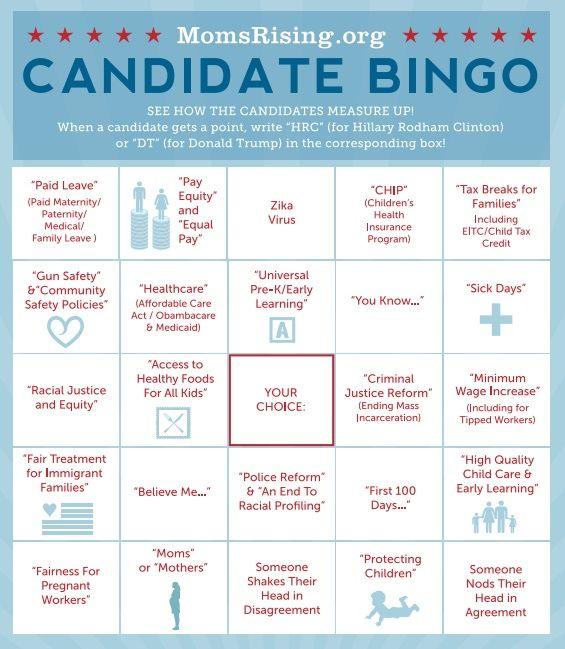 Momsrising Org Presidential Debate Bingo Debate Bingo Bingo