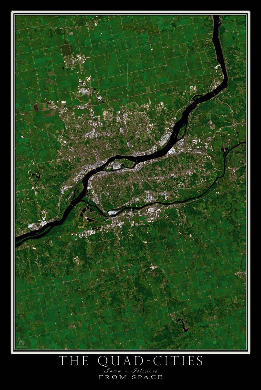Davenport Quad Cities Iowa-Illinois Satellite Poster Map