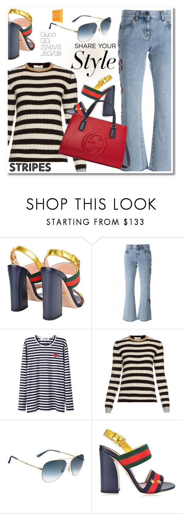 """""""Share your style"""" by smartbuyglasses-uk ❤ liked on Polyvore featuring Gucci, Play Comme des Garçons, stripes, gucci and aviator"""