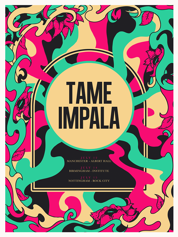 Tame Impala - UK Tour Screen Print by Tom Gordon, via Behance