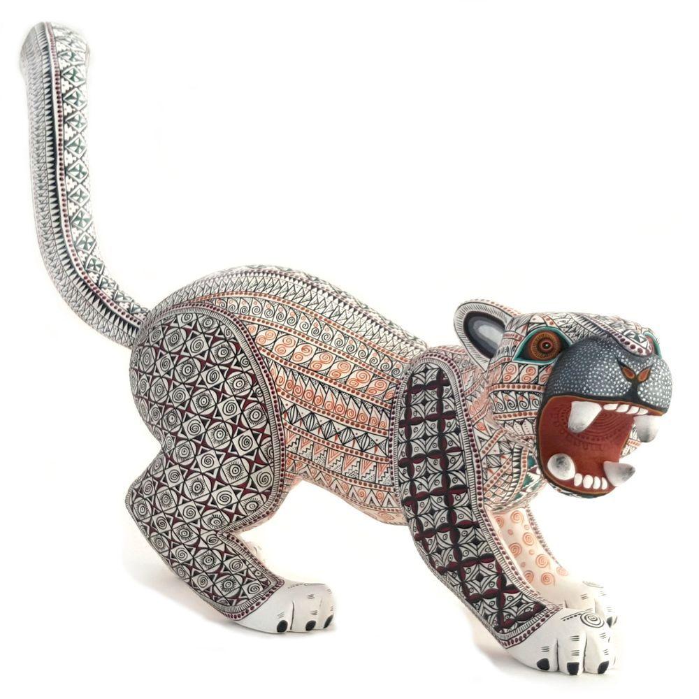 Oaxacan wood carving jacobo angeles jaguar mexican fine folk art