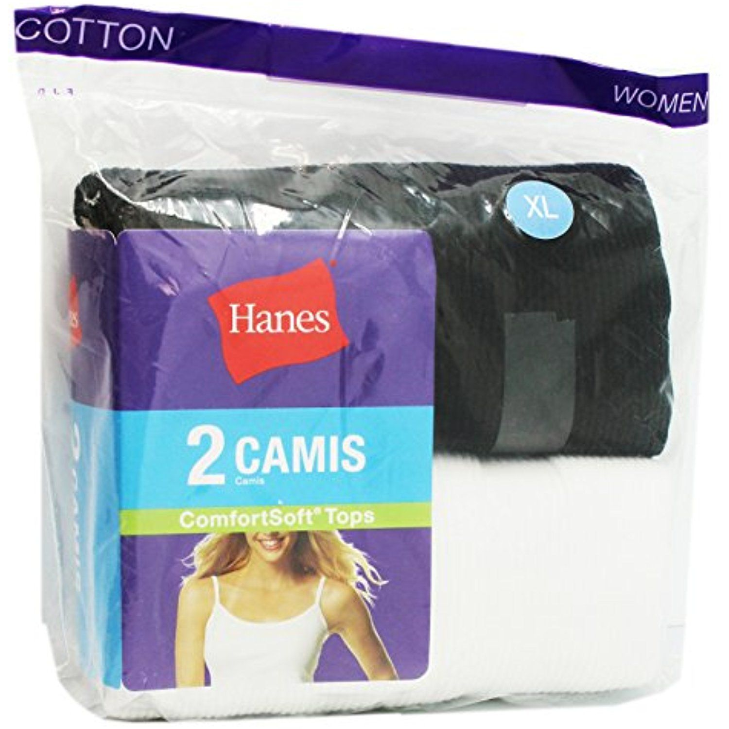 Black and White Hanes 2 Pack Women's Camis (Size Large