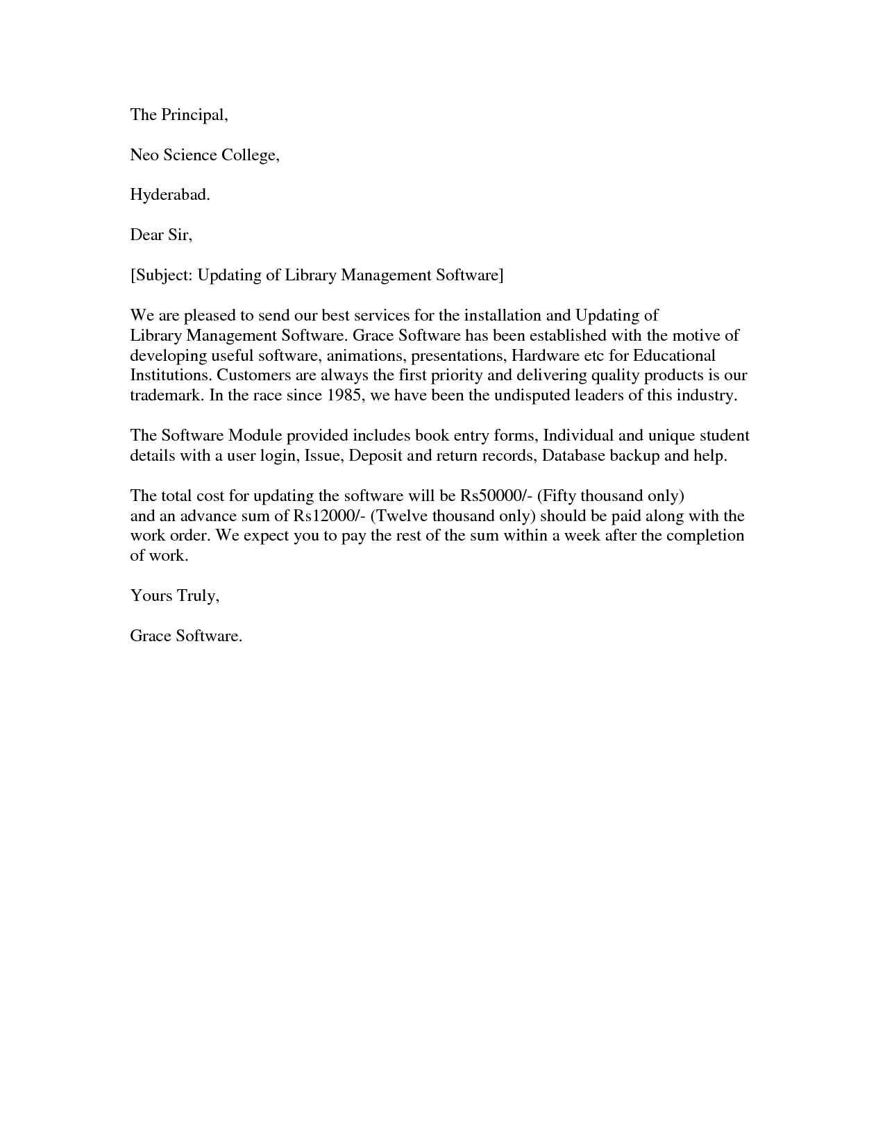 Proposal Letter To A Principal  Sample Proposal Letter To A