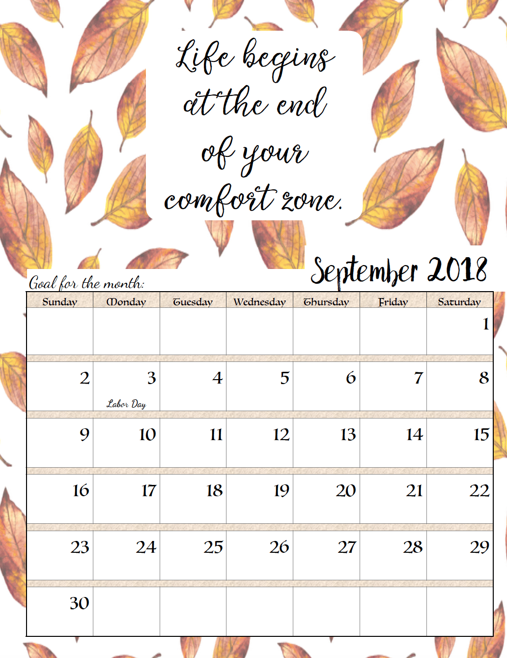 September 2018 Calendar With Quotes | 2018 Printable