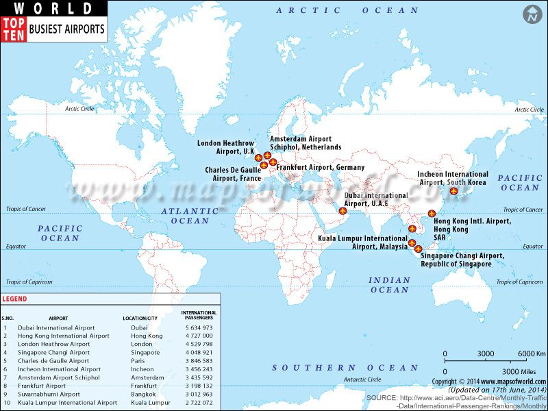 Top ten busiest airports map daydreaming pinterest top ten busiest airports in the world by passenger traffic world top ten gumiabroncs Image collections