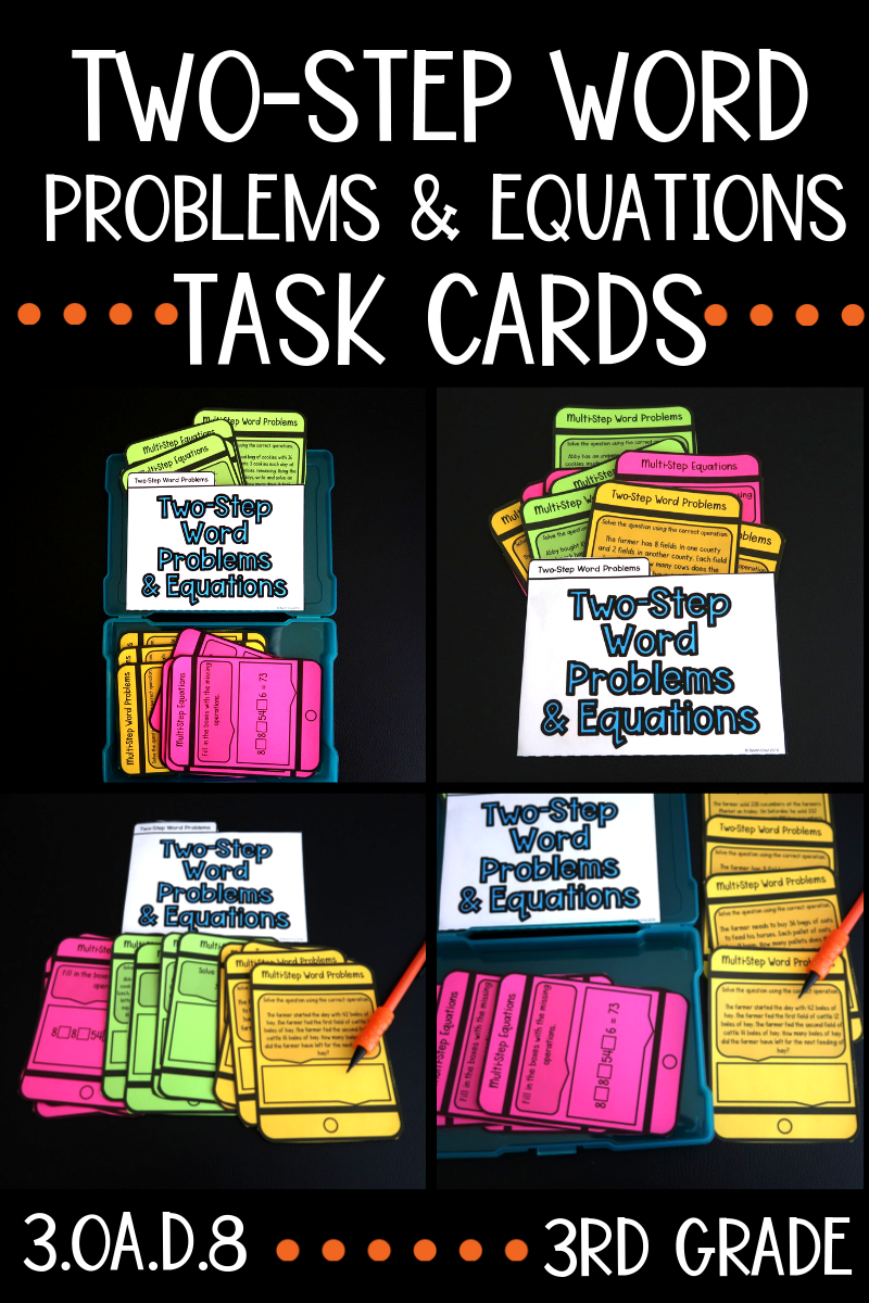 Two-Step Word Problem Task Cards   Word problems [ 1200 x 800 Pixel ]