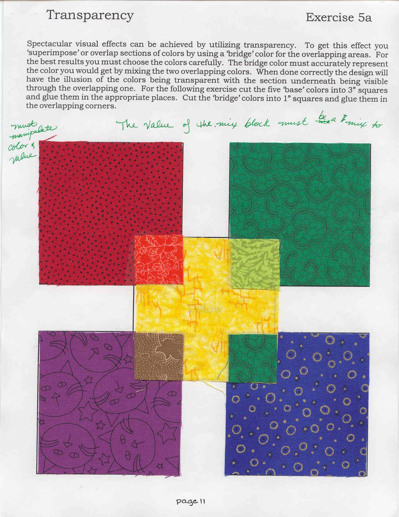 """This transparency example in the Color Study class from a local quilt store can be illustrative of a mixed dominant palette. The fabric in each corner looks *as if* it were a mix of the yellow fabric and the larger fabric. Each """"mixed"""" hue still retains its identity (red, green, violet, blue), while it harmonizes with the other hues because they have also been """"mixed"""" with yellow."""