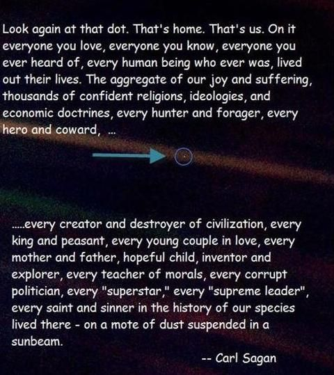 Carl Sagan Love Quote: The Pale Blue Dot ...that Mote Of Dust Suspended In A