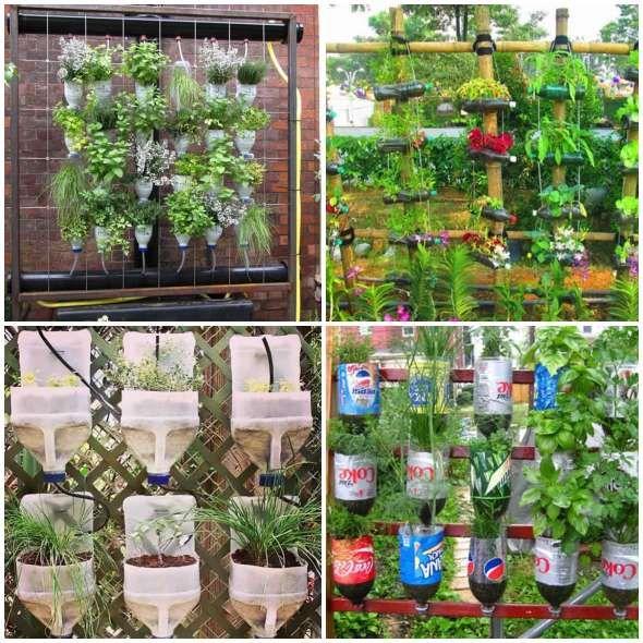 Jardim Vertical Com Garrafas Pet Jardinagem Em Recipientes