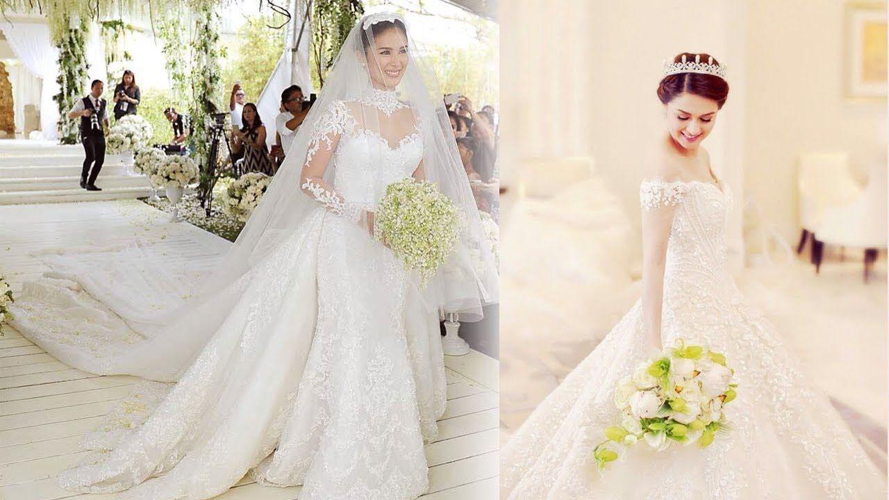 Heart Evangelista Wedding Gown Romantic Most Expensive Wedding Gowns Of Famo In 2020 Detachable Train Wedding Dress Long Sleeve Mermaid Wedding Dress Wedding Dresses
