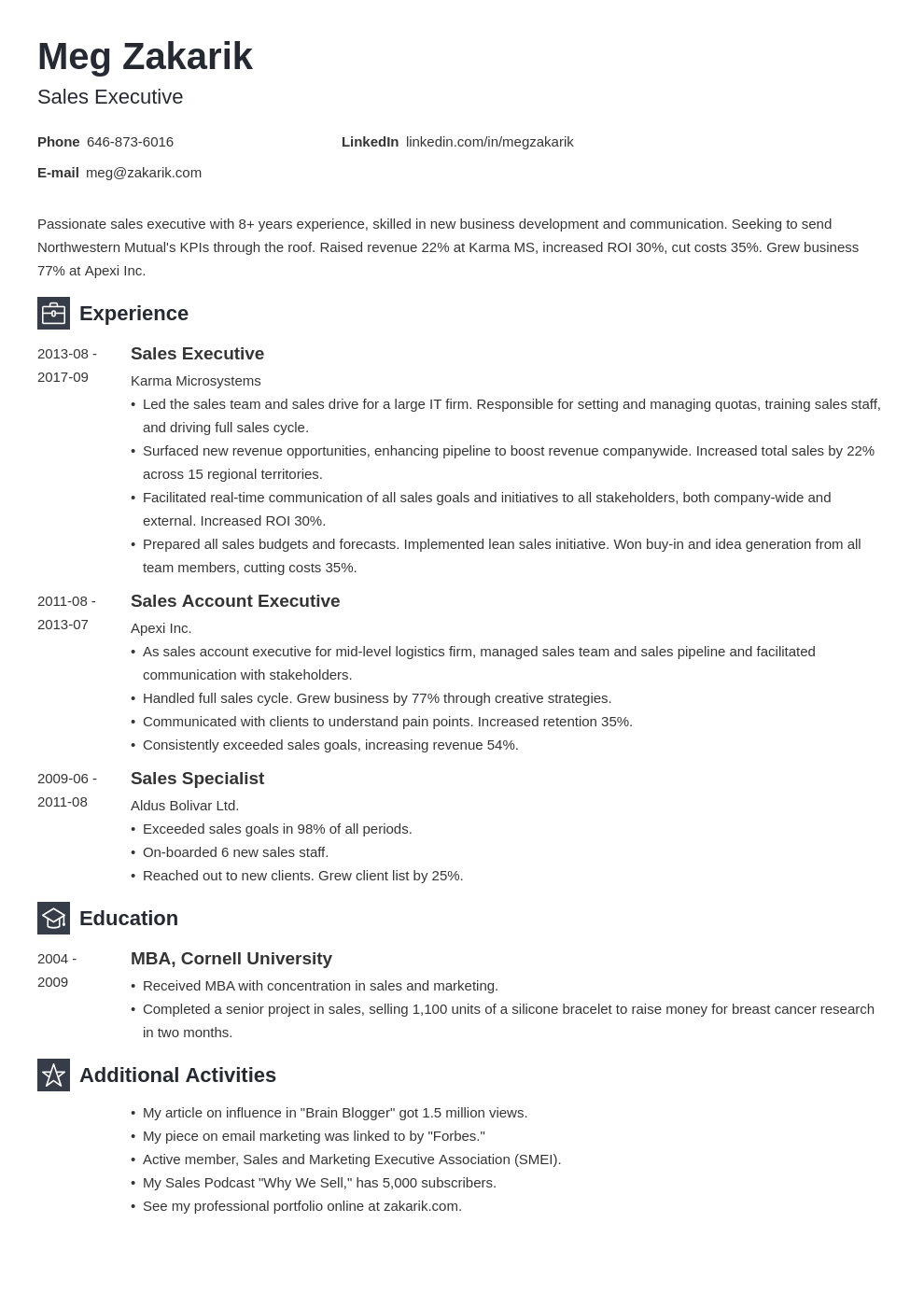 executive resume example template newcast in 2020