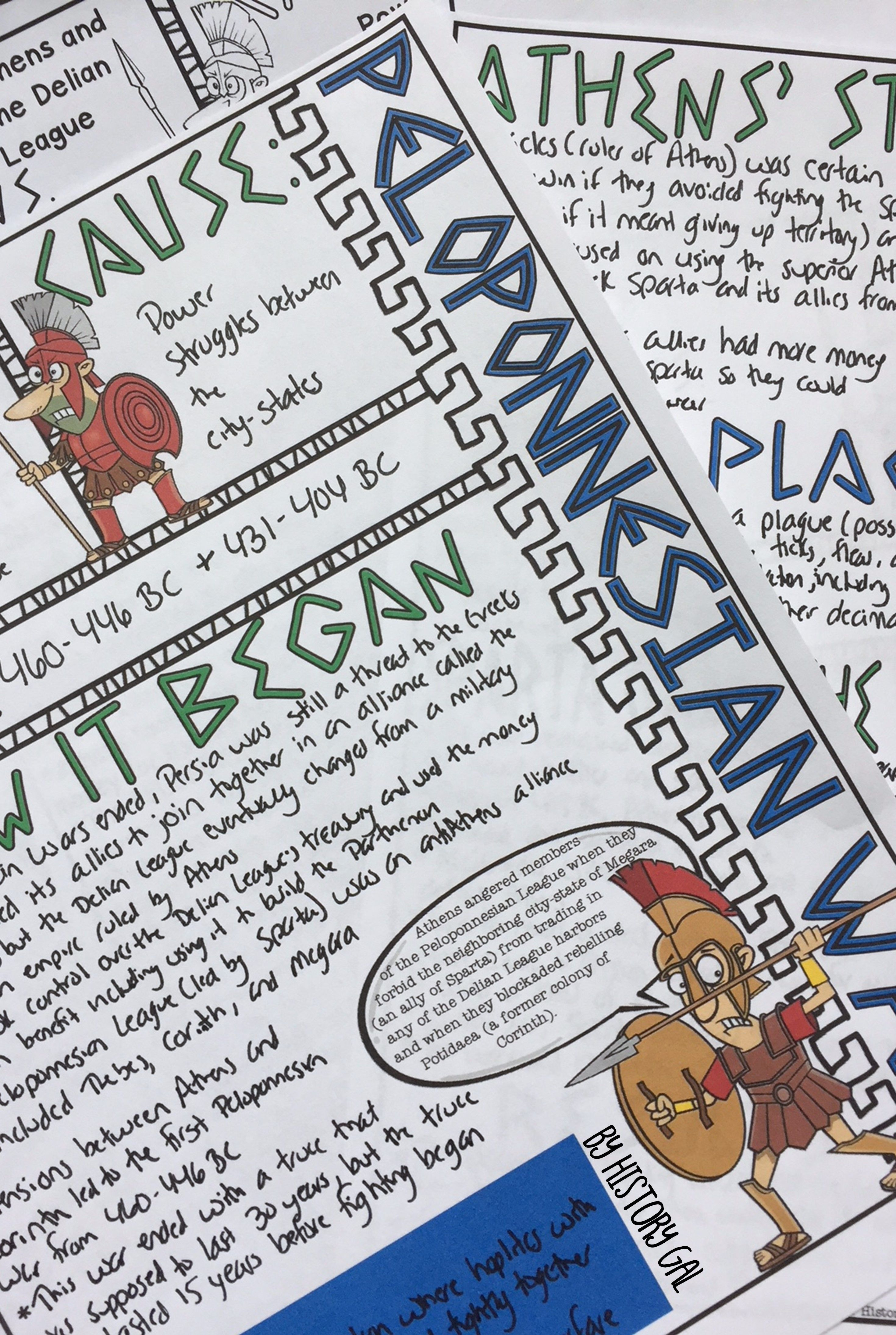 Ancient Greece Doodle Notes Set 6 For The Peloponnesian