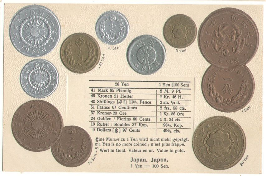 An Coins Currency Converter Silver Gold Coin Embossed Old Postcard