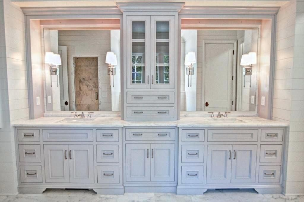 Bathroom Tower Cabinet Gorgeous Double Vanity With Center Tower